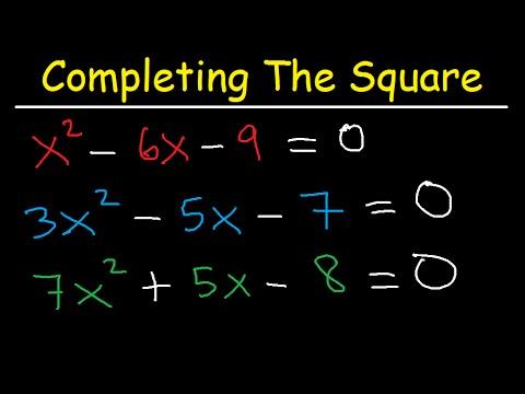 Completing The Square Method and Solving Quadratic Equations - Algebra 2