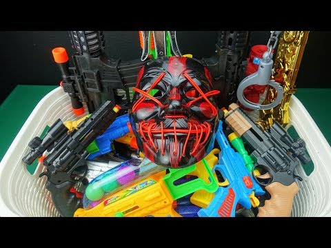 Box Full Of Toy Guns And Rifles !! XX Neon Mask And Colorful And Beaded Pistols