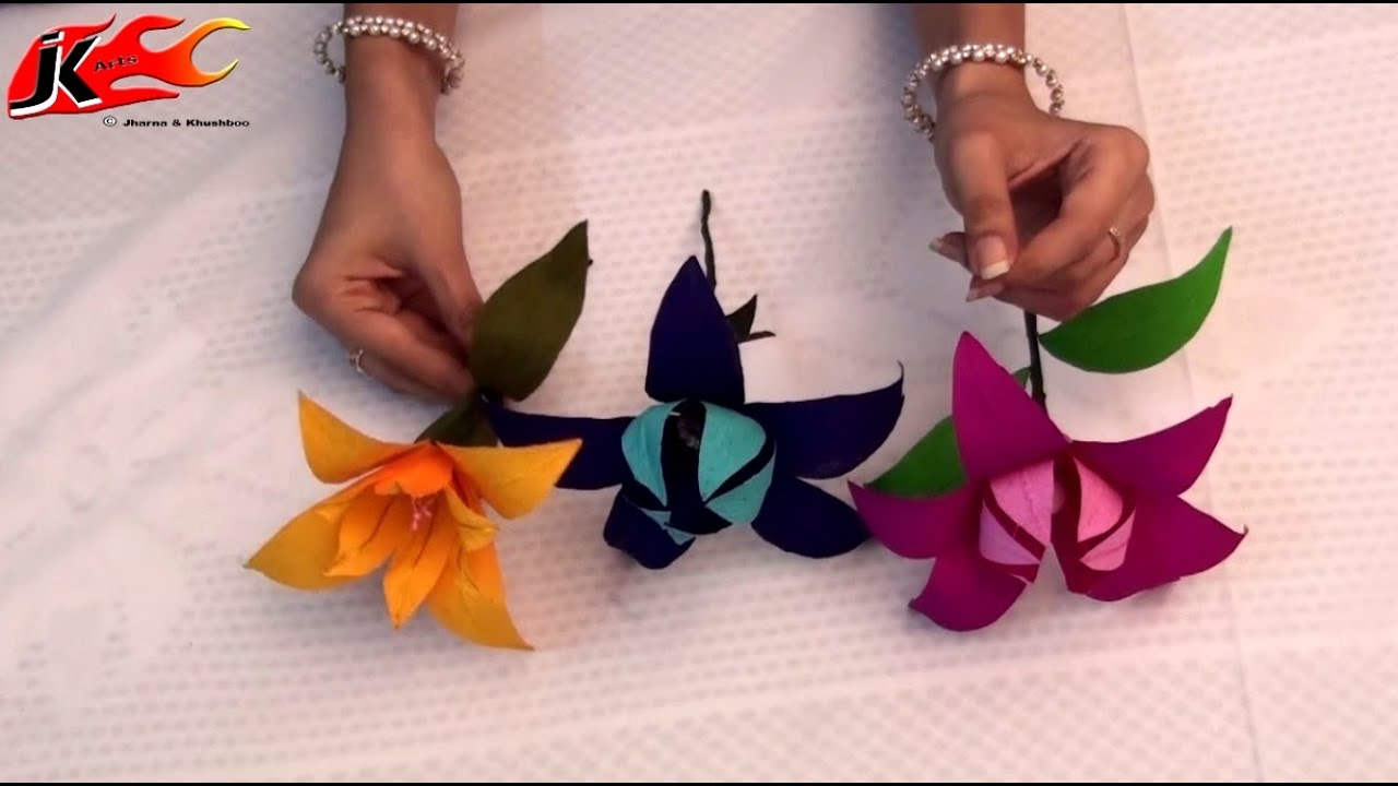 Diy how to make duplex paper flower jk arts 004 youtube mightylinksfo