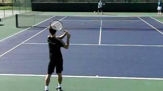 Kei Nishikori Forehand and Backhand in Slow Motion (Behind the Baseline View)