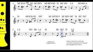 Para Elisa Partitura con Notas para Flauta dulce o de pico, violín, oboe, traversa