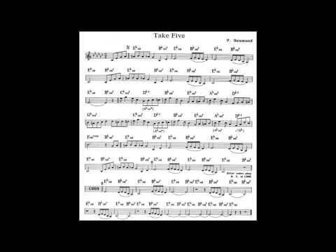 Take Five - Play along - Backing track (C key score piano - guitar)