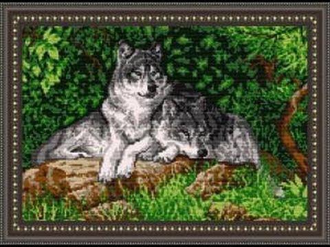 """Бисерная вышивка """"Пара волков"""""""
