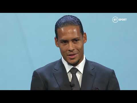 Virgil van Dijk accepts the UEFA Men's Player of the Season award for 2018/19