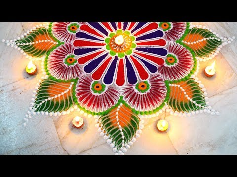 Rangoli for diwali   Easy unique rangoli using simple tools   diwali special   Art with Creativity thumbnail