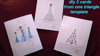 Make 3 Christmas Cards Of Trees From One Triangle Template, Cardmaking