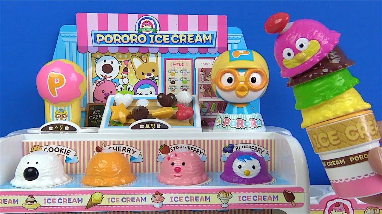 Pororo dondurma dükkanı açıyoruz Peluş Pororo oyuncak Niloyaya dondurma veriyor Amber dondurma yiyor