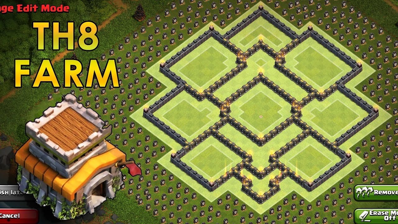 Coc th8 base design - Clash Of Clans Th8 Farming Base Coc Town Hall 8 Hybrid Base 2016 Youtube