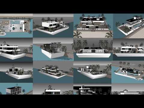 Houseboat yüzen evler design architect Istanbul in TURKEY luxury floating barge project construction