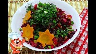 Салат из свеклы зеленого горошка, соленых огурцов