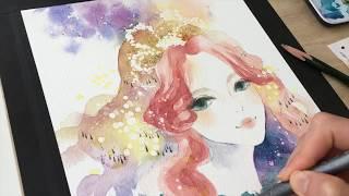 透明水彩メイキング「宝石の姫君(後半)」− 2019.7 || Watercolor painting