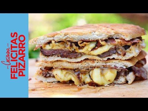 Panini de Carne, Panceta, Mozzarella & Cebollas Asadas | Felicitas Pizarro