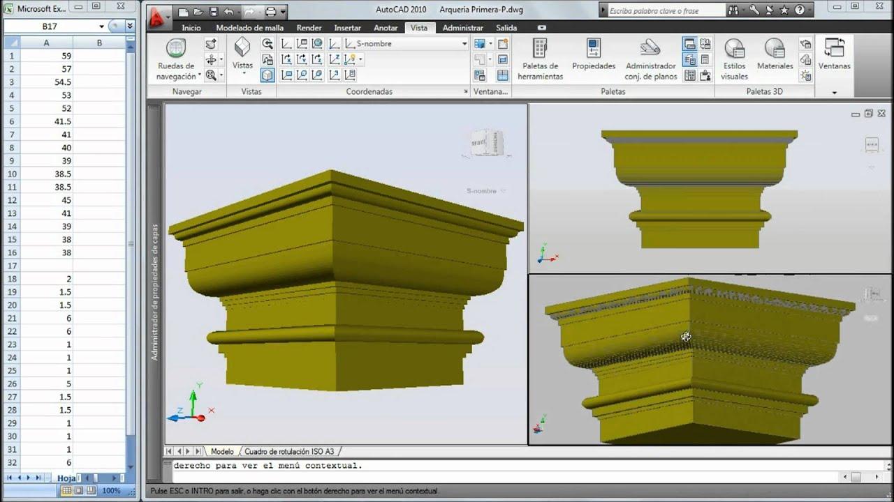 Autocad 3d moldura de pilar cuadrado1 youtube - Molduras para ventanas exteriores ...