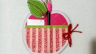Porta recado de tecido com tema de maçã
