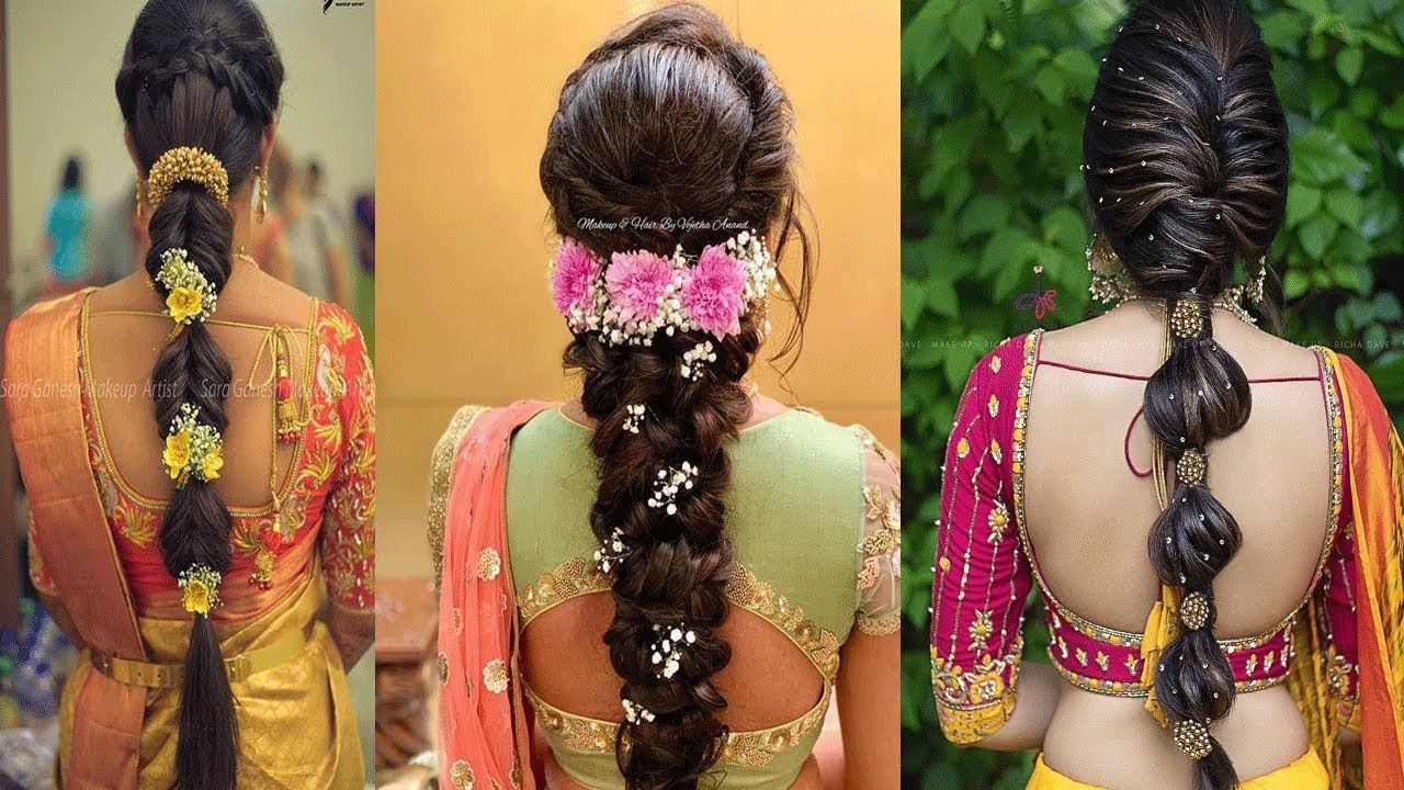 new modern braided bridal hairstyle for south indian wedding/decorated flower braided hairstyles
