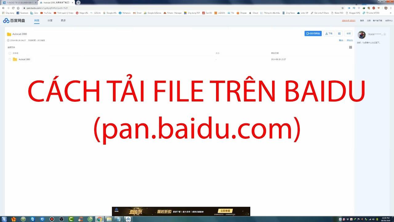 Cách tải file trên Baidu - pan baidu com