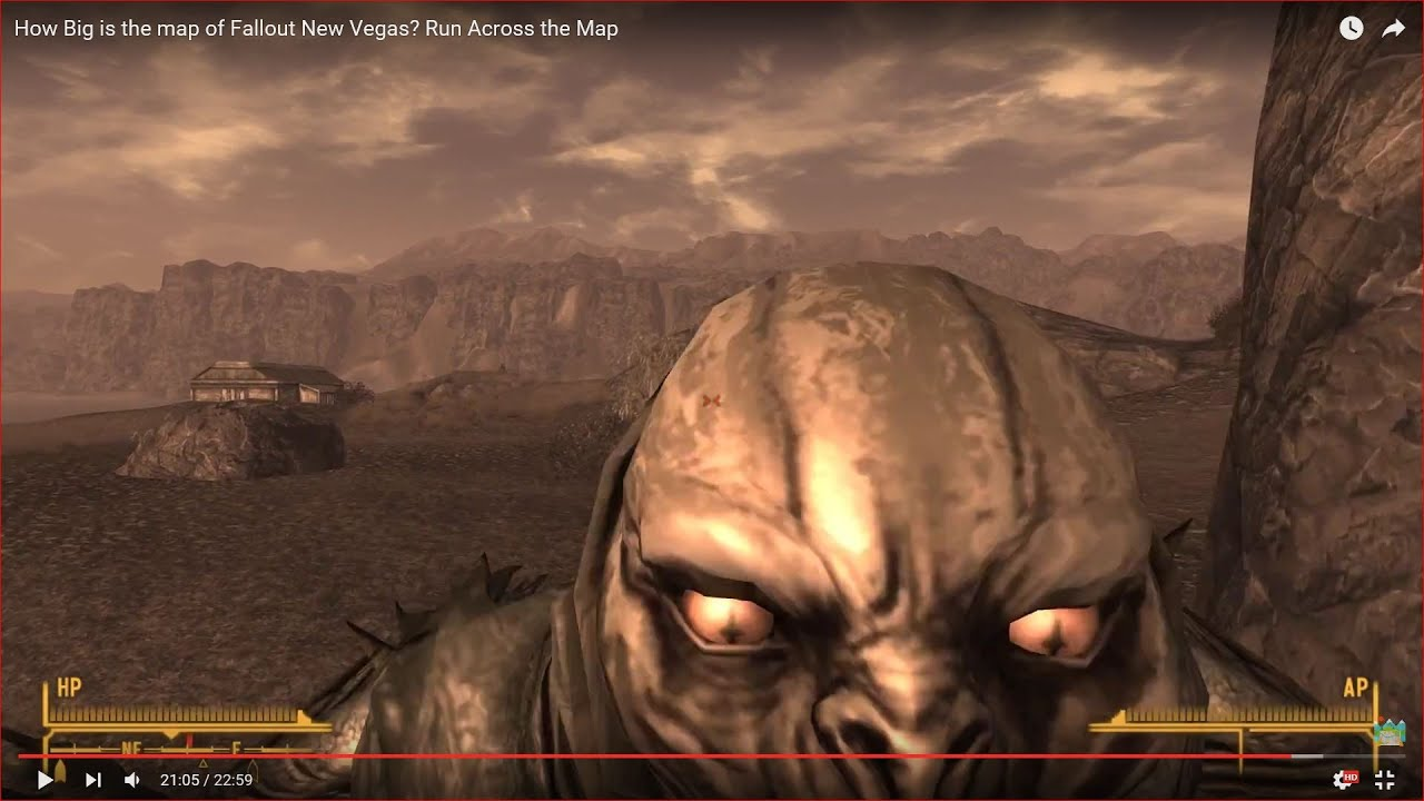 HOW BIG IS THE MAP in Fallout New Vegas? Run Across the Map - YouTube