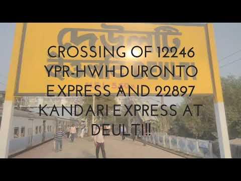 12246 Duronto Express crosses 22897 Kandari Express at mps at Deulti || Indian Railways