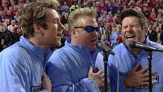 Rascal Flatts perform the national anthem before Game 4 of the World Series