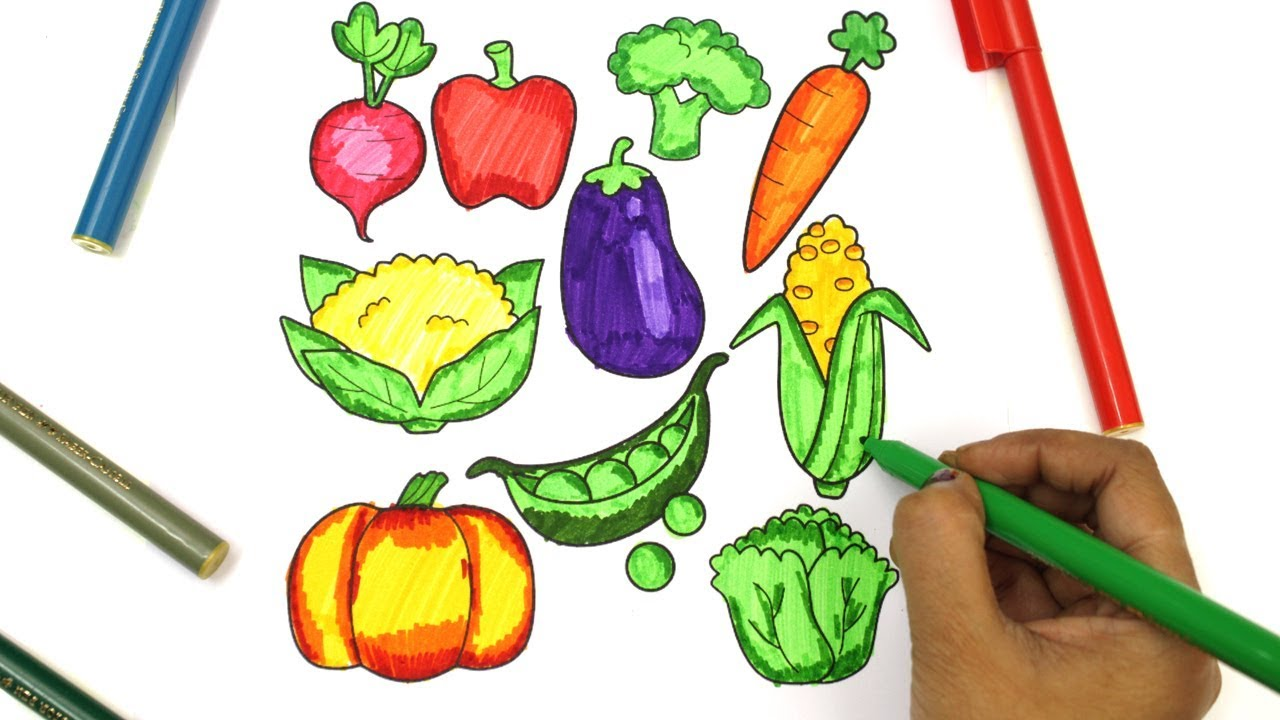 Vegetables Coloring Game and Learning Fruits for Children Funny ...