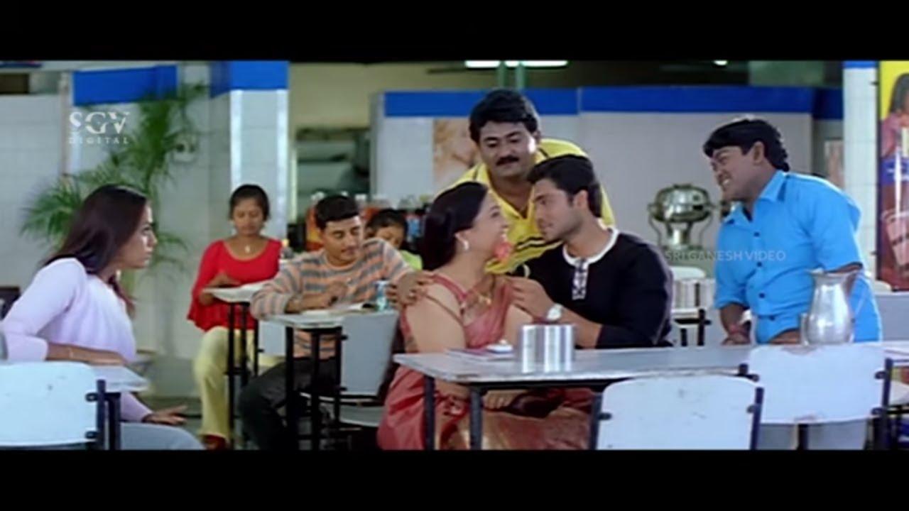 Rakshita Jealousy on Adithya Praising Teacher   Komal   Love Kannada Movie Comedy Scene