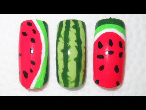 Watermelon nail art: 3 very easy designs