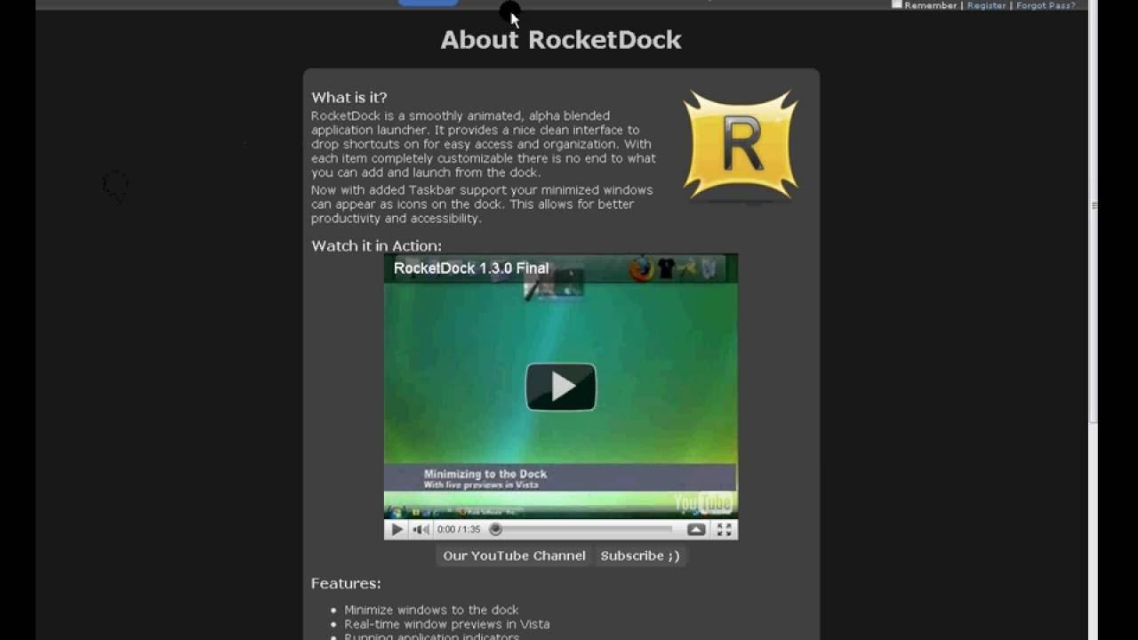 rocketdock pour vista