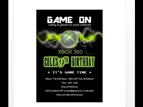 How to make XBOX birthday invitation with MS Word - YouTube - how to make a party invitation on microsoft word