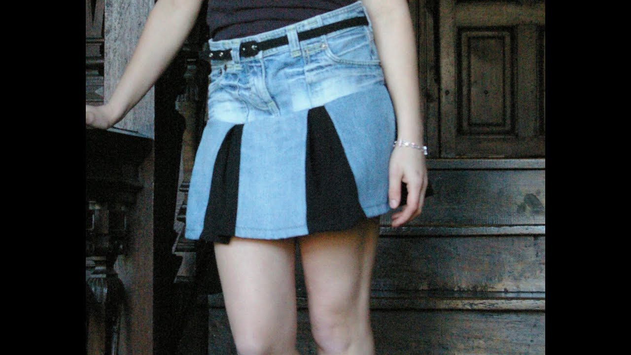 Make a sexy mini skirt from old jeans (Recycled) - YouTube