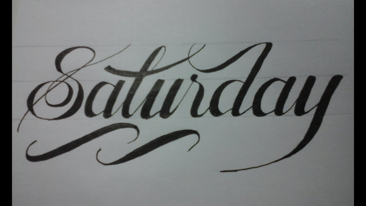 Calligraphy writing for beginners with normal pen : Saturday