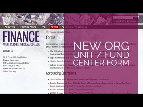 New Finance Form: Org Unit/Fund Center Request