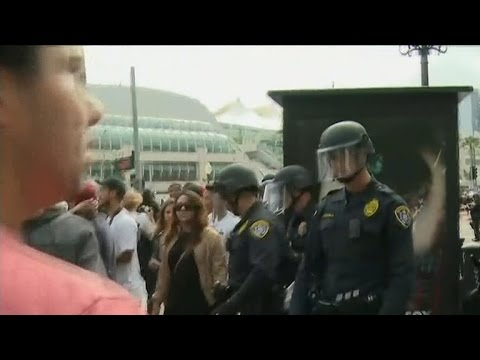 Protests get ugly at Trump rallies in California