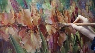 """Ирисы"". Олег Буйко. Живопись маслом. Process of creating oil painting. 油畫  油絵"
