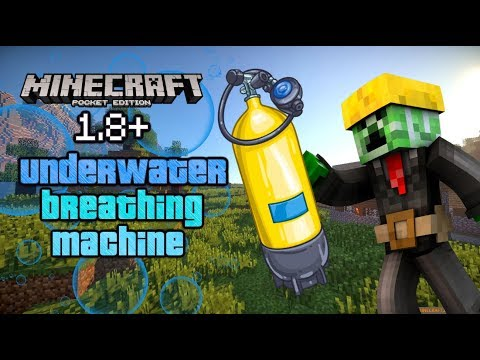 ✔️ MCPE Working UNDERWATER BREATHING MACHINE in Minecraft PE 1.8 BETA!! Command block Tutorial