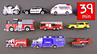 Emergency Vehicles Rescue Trucks for Kids (39 Minutes) - Fire Police Car Ambulance Organic Learning