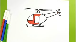 How to Draw a Helicopter Easy Step by Step for kids | Kids Color Learning with Helicopter Drawing