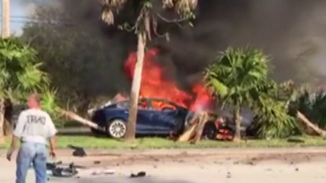Fiery Tesla crash kills driver in Davie