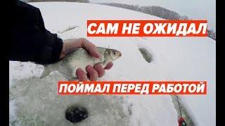 Сам не ожидал! Зимняя рыбалка перед работой.