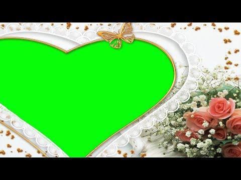 heart and flowers frame   , green screen wedding frame thumbnail