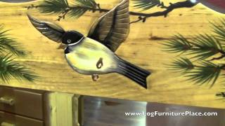 Hand Painted Birds Mirror | Rustic 3d Intarsia Wood Art From Logfurnitureplace.com