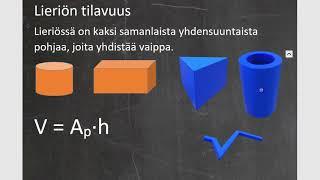Kurssi 10: Avaruusgeometria: osa3: Lieriön tilavuus