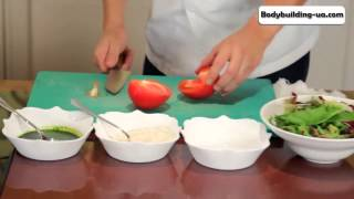 Салат с теплой курицей  Очень легкий фитнес рецепт