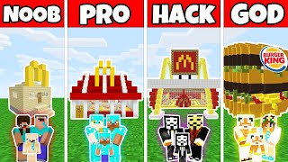 Minecraft: FAMILY FAST FOOD RESTAURANT BUILD CHALLENGE - NOOB vs PRO vs HACKER vs GOD - Minecraft