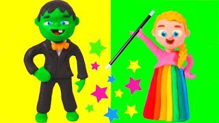 SUPERHERO BABIES PLAY WITH MAGIC ❤ Spiderman, Hulk & Frozen Play Doh Cartoons For Kids