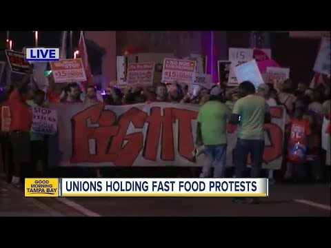 Protests underway in Ybor City for $15 an hour wages