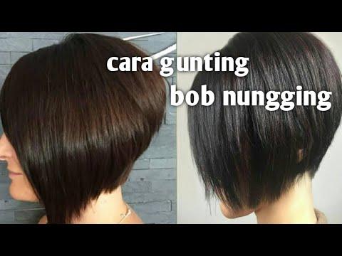 Potong Rambut Model Nungging Polwan Bob Hair Cut With Razor Youtube