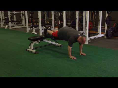 Prone Plank (Feet On Bench) Alternating Knee-Ups