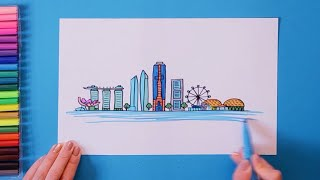 How to draw and color Singapore Skyline