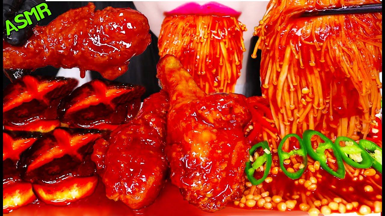 ASMR FRIED CHICKEN, ENOKI MUSHROOM, SPICY MUSHROOMS 양념 치킨, 매콤 팽이 버섯, 매운 버섯 먹방 EATING SOUNDS