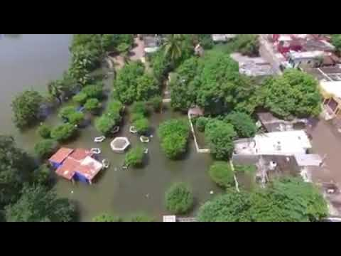 Dron capta desde el aire la inundación en la colonia Calderón en Rosario
